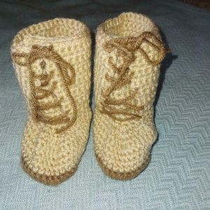 Tan Knitted Baby Booties